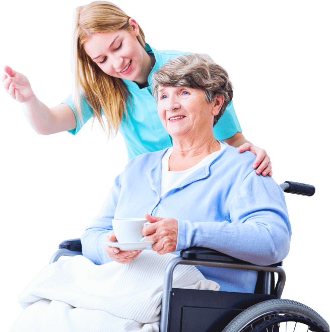 caregiver and senior woman in the wheelchair having a conversation